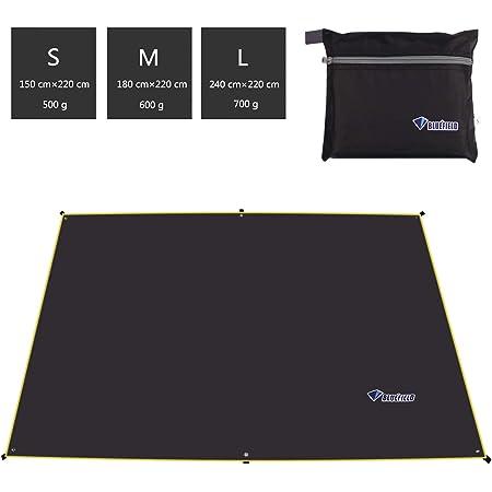 テントシート 折畳みクッショングランドシート タープ 軽量 防水 遮光日除け加工 紫外線カット 4~6人に適用 収納バッグ付き