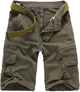 Men's Cotton Relaxed Fit Multi Pocket Outdoor Casual Cargo Shorts Soil Army Green Tag 38-US 36