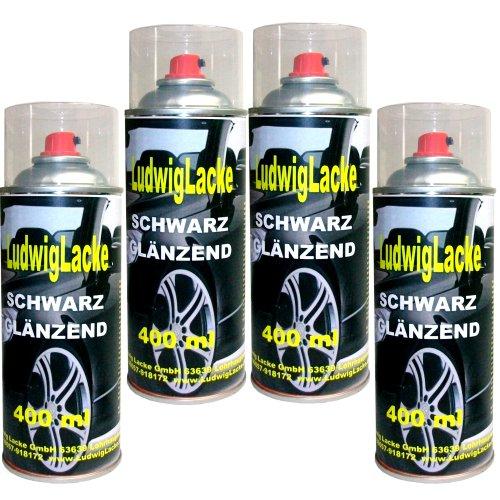 4 Lackspray Schwarz glänzend 400 ml je Spraydose