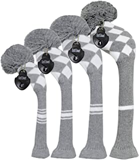 Scott Edward Dark Color Yarn Knitted Golf Club Head Covers Set of 4, Fit for Driver Wood(460cc), Fairway Wood,and Hybrid(U...