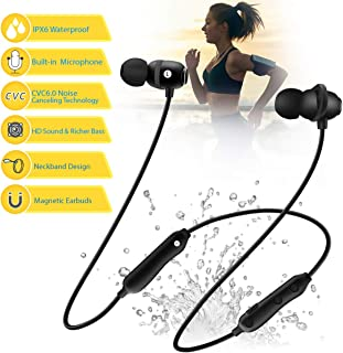 $21 » Bluetooth Headphones 5.0 Wireless Earbuds IPX6 Waterproof Magnetic with Stereo Bass, 8 Hours Play Time,Noise Cancelling Sweatproof Sport in-Ear Earphones for Running Workout Gym
