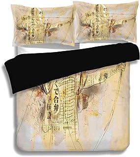 Juego de fundas nórdicas negras, japonés, Arquero en un combate Dibujado a mano Arte marcial moderno Ilustración de la cultura de la guerra asiática, Amarillo Negro, Juego de ropa de cama decorativa d