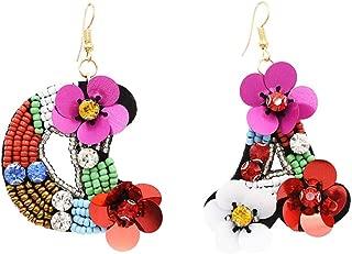 SUHOW Dangler Eardrop Ear line Stud Earring,Creatively Beautiful Hand-Studded Shiny Earrings, Rose red 3