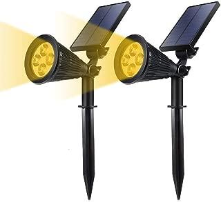YUMAMEI Solar Powered LED Garden Spotlights, 2-in-1 Waterproof Solar Spotlights Warm White, Solar Landscape Lighting Wall Light for Outdoor Garden/Patio/Yard/Lawn/Pathway Decorations (2 Pack)