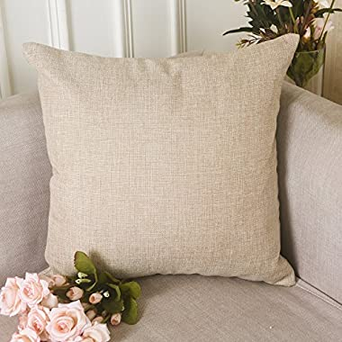 HOME BRILLIANT Burlap Solid Linen European Throw Pillow Sham Cushion Cover for Bench, 20 x20 , Light Linen