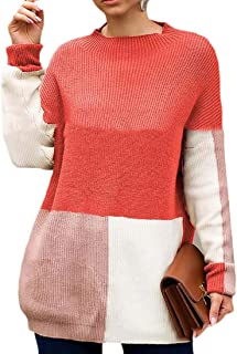 FSSE Womens Casual Long Sleeve Color Block Knit Loose Sweater Pullovers