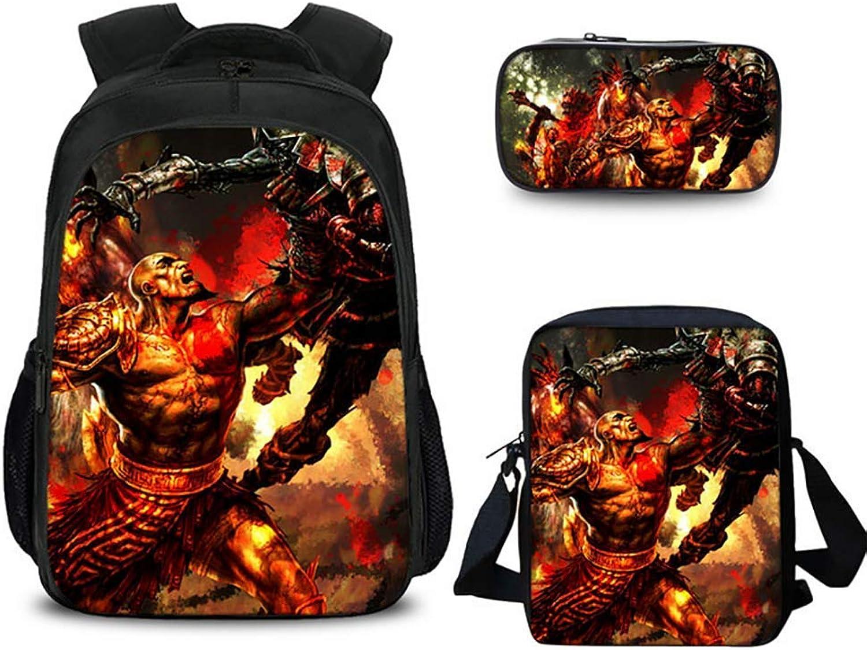 SYDFJ Gott des Krieges Rucksack mit Umhngetasche und Bleistiftbeutel für Jungs und Mdchen Schulbüchertasche 14-Zoll-Laptop-Tasche