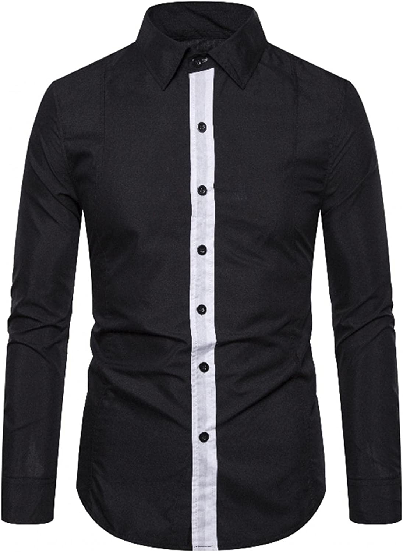 Huangse Men's Contrast Color Casual Classic Fit Dress Shirt Button Down Shirts Long Sleeve Imitation Cotton Shirt