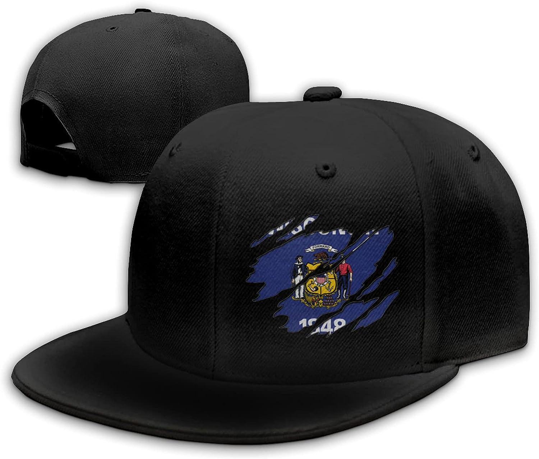Ytulhtp Wisconsin Flag Unisex Cotton Baseball Cap Adjustable Moisture Wicking Flat Hat Cap Snapback