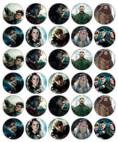 Lot de 30 décorations comestibles en papier gaufrette pour gâteaux d'anniversaire Harry Potter