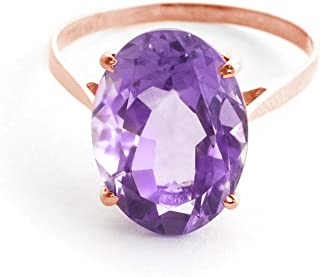 14K Solid Rose Gold Ring with 7.55 Carat Natural Oval Purple Amethyst