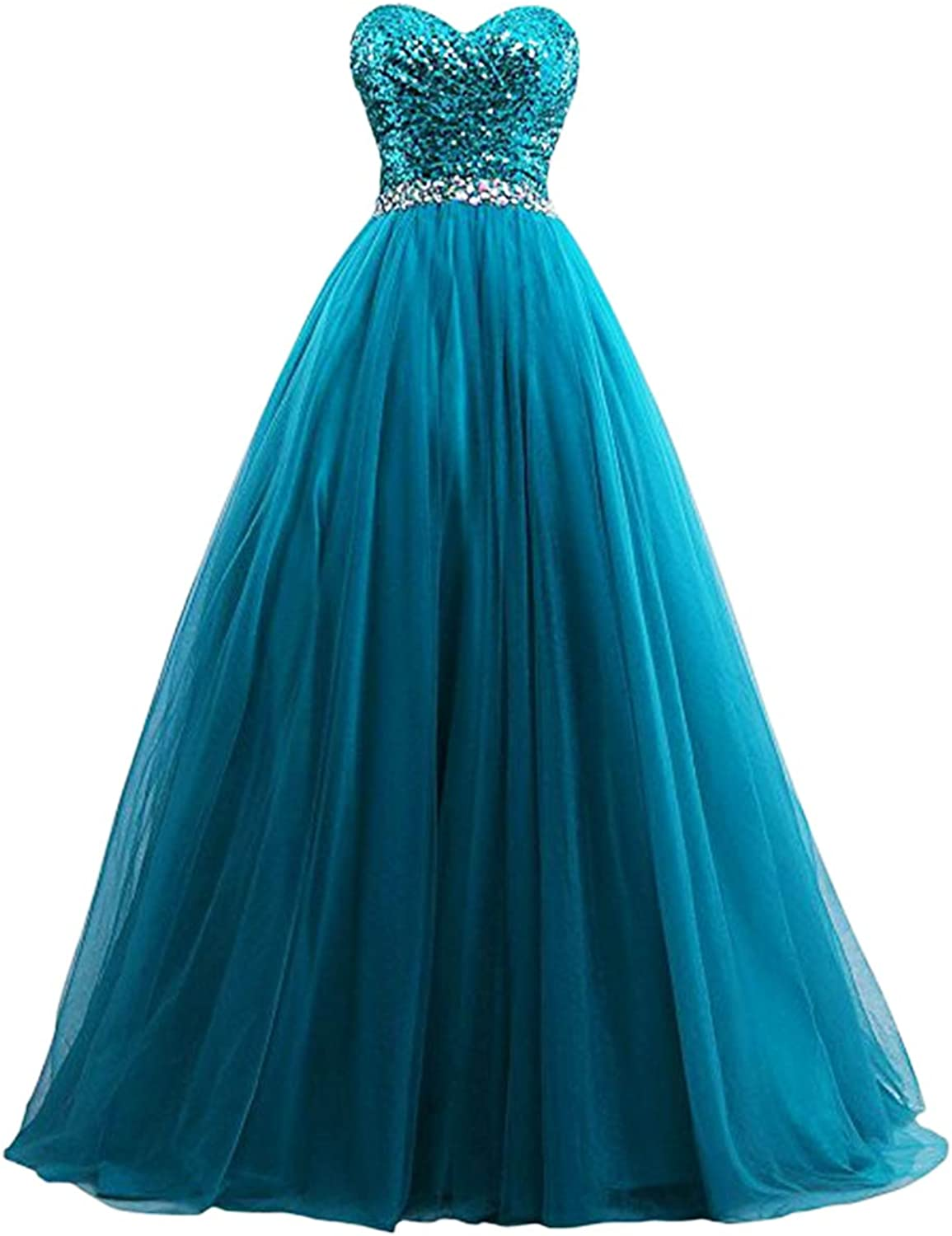Beilite Women's Sweetheart Sequin Tulle Long Prom Quinceanera Dresses