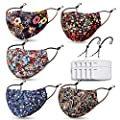 Reusable and Washable Face Madk for Women Build-in Nose Wire and Filter Pocket,With 10 Filters,2 Adjustable Lanyards,Breathable Dust Cloth Fabric with Floral,Bohemian Print for Outdoor(5 Pack)