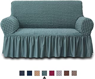 NICEEC Loveseat Slipcover Sage Loveseat Cover 1 Piece Easy Fitted Sofa Couch Cover Universal High Stretchable Durable Furniture Protector Love Seat with Skirt Country Style (2 Seater Sage)