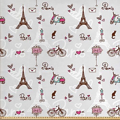 ABAKUHAUS París Tela por Metro, Ciudad Del Amor Y Moda, Decorativa para Tapicería y Textiles del Hogar, 2M (148x200cm), Pink Pearl Redwood
