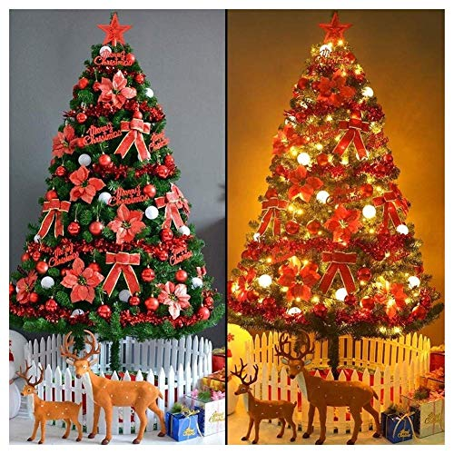 N/Z Home Equipment Christmas Tree Decorations Outdoor Indoor Pre-lit Optical Fiber Xmastree In Led Lights Ornaments Eco-friendly Pvc Flame Retardant Easy Assembly-red (Size : 4Ft(120CM))