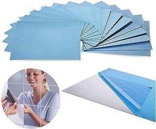 Pegatina espejo 24 Unidades Espejo Adhesivo 15x15cm para Cuarto de Baño Dormitorio Papel Tapiz Pegar Mosaico Espejo