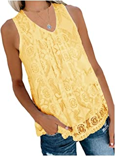 MogogN Women's V-Neck Casual Sleeveless Loose T Shirts Blouse Top