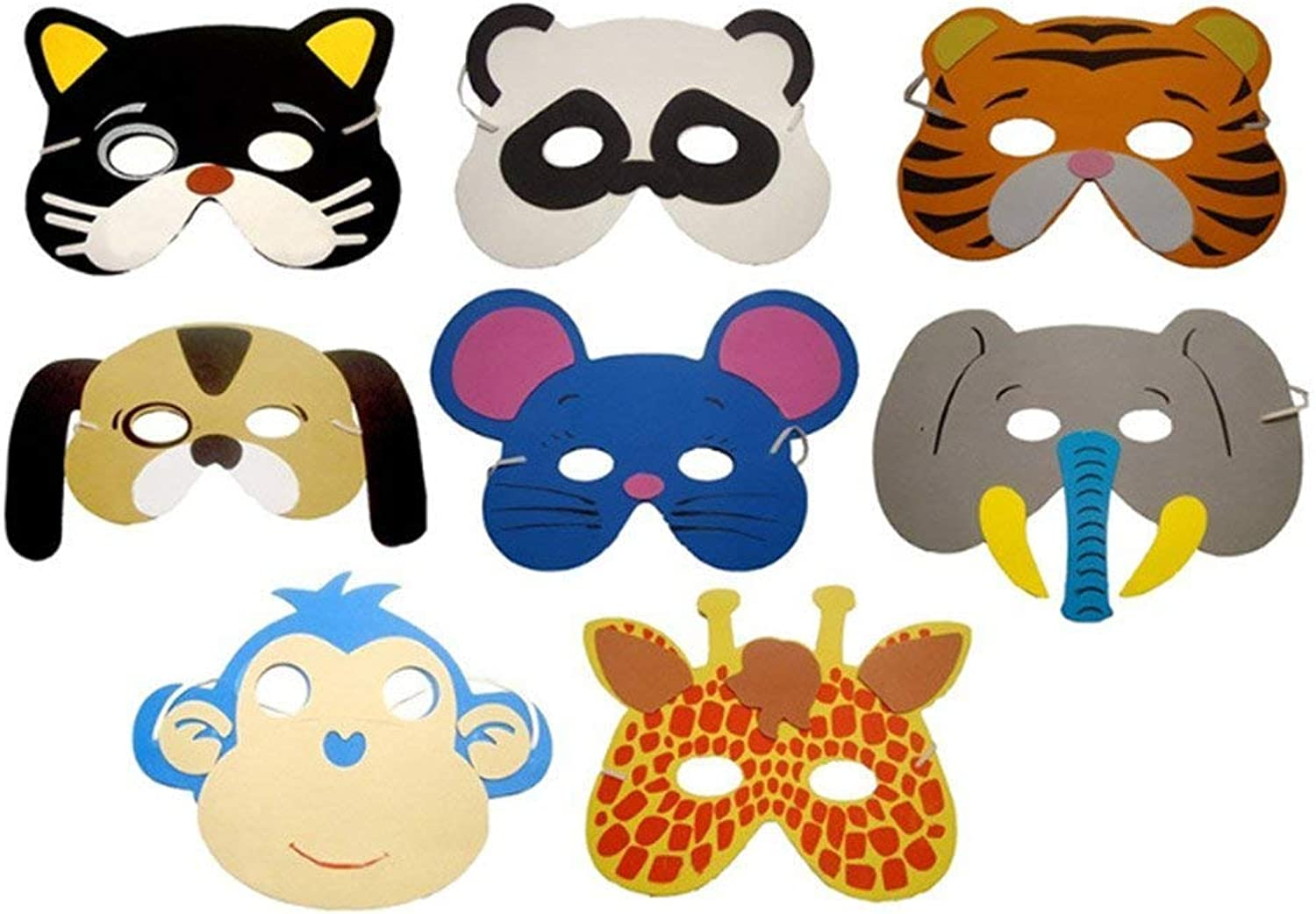 12 Assortment Kids Foam Animal Face Masks Halloween Masks DressUp Party Accessory for Birthday Party Favors Costume