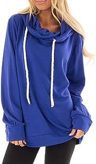 PRETTYGARDEN Women's Casual Solid Cowl Neck Long Sleeve Drawstring Pullover Sweatshirts Hoodie