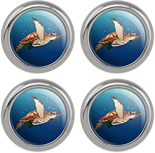 Sea Turtle Swimming in Ocean Metal Craft Sewing Novelty Buttons - Set of 4