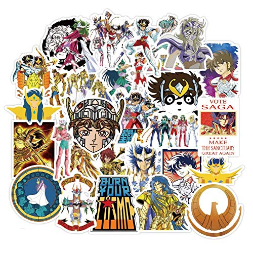 XIAMU Pegatinas de Anime japonés Saint Seiya para portátil, Motocicleta, monopatín, Ordenador, teléfono móvil, Juguete de Dibujos Animados, etc.50 unids/Pack