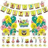 BESTZY 36pcs Bob Esponja Cumpleanos, Fiesta de Cumpleaños DIY Decoración Suministros, pancarta de cumpleaños y globos de látex para niños decoraciones