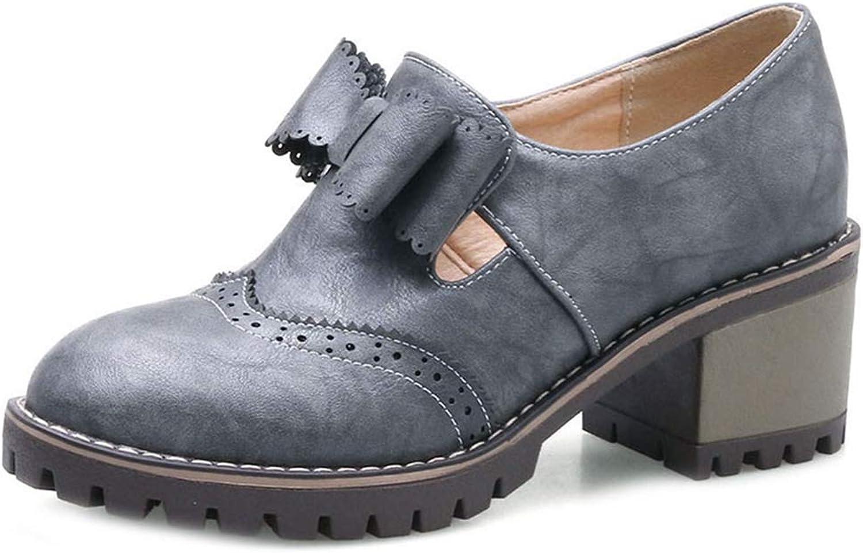 Women's Platform Oxford shoes Slip-On Chunky High Block Heel Retro Classic Bow Dress Wedge Pumps