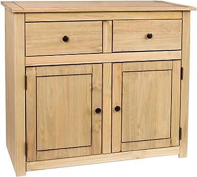 Vida Designs Panama Buffet 2 Portes 2 tiroirs en Cire Naturelle en chêne Massif Meubles, Product Size: H 80 x W 93 x D 40 Cm Approx
