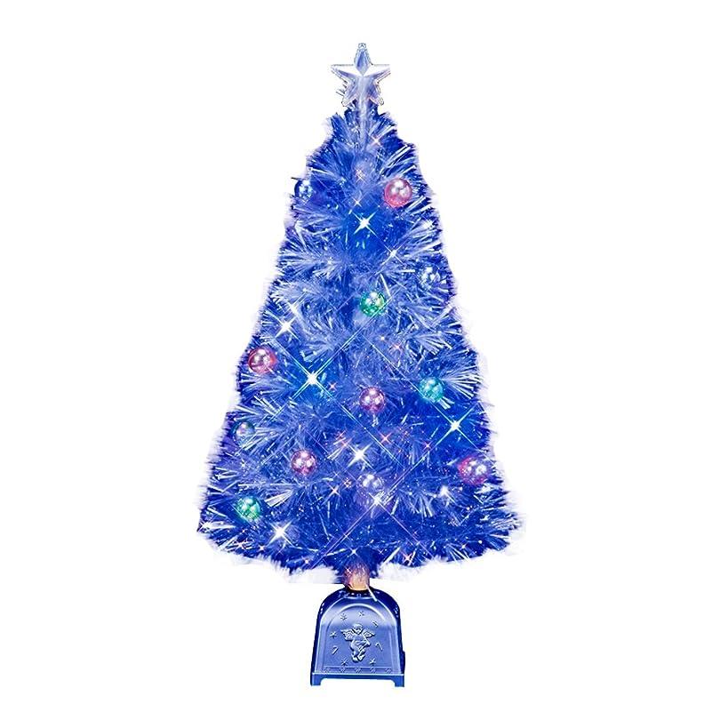 オーナメントルー空のフローレックス(FLOREX) クリスマスツリー ファイバーツリー ファンタジーホワイト&ブルーLEDホワイトギャザーチップファイバーツリー 高さ90cm FX-3782