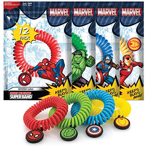 Superband - 12 Pack - Marvel Avenger Insect Repelling Wristbands with Awesome Superhero Charms - Natural Plant Based Oils - One Size Fits All - (12)