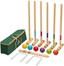 ApudArmis Six Player Croquet Set with Deluxe Premiun Pine Wooden Mallets,Colored..