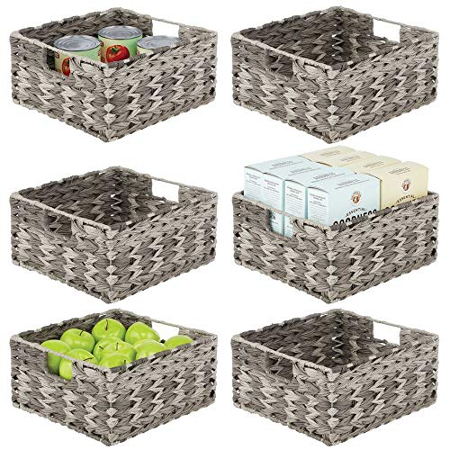 mDesign Woven Farmhouse Kitchen Pantry Food Storage Organizer Basket Bin - for Cabinets, Cupboards, Shelves, Countertops - Holds Potatoes, Onions, Fruit, 6 Pack - Gray Ombre