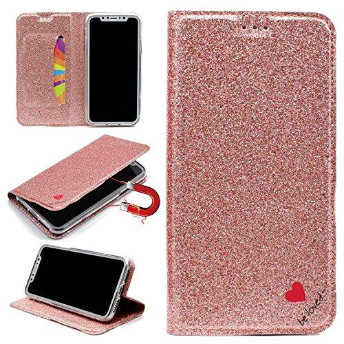 Sycode Briller Coque pour iPhone X,Portefeuille Coque pour iPhone X,Glitter Amour Cœur Cuir Portefeuille Coque pour iPhone X-Or Rose