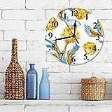 Silencioso Wall Clock Decoración de hogar de Reloj de Redondo,Alcachofa, Verduras de colores abstractos en diseño Art Nouveau Watercolored decorativo, az,para Hogar, Sala de Estar, el Aula
