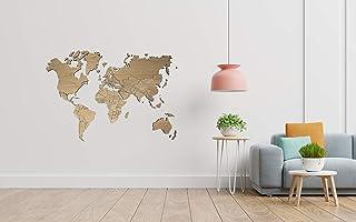 MapaMundi de madera personalizable color y tamaño • 100x60cm | 160x100cm | 200x120 cm Mapa Decorativo para pared Envío Pen...