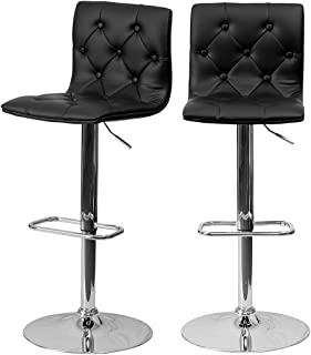 Modern Bar Stools Tufted Design Hydraulic Adjustable Height 360-Degree Swivel Seat Sturdy Steel Frame Durable Chrome Base Dining Chair Bar Pub Stool Home Office Furniture - Set of 2 Black #1979