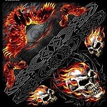 Bandana stof halsdoek biker doodskop flaming adela...