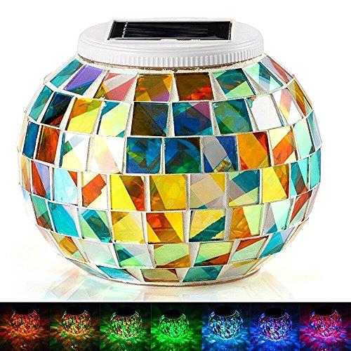 Kingcoo Mozaïeklamp, waterdicht, kleurverandering, glazen bol, sfeerlicht, nachtlampje, zonnelamp tafellamp voor slaapkamer, party, terrasdecoratie