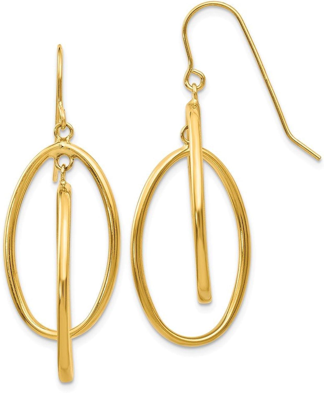 Beautiful Yellow gold 14K Yellowgold 14k Polished Double Circle Dangle Wire Earrings