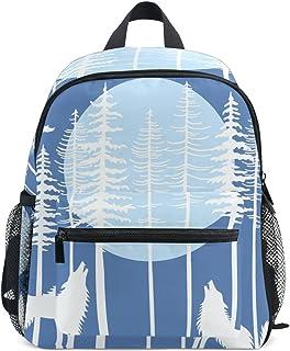 MASSIKOA Howling Wolf Fir Tree Forest Lightweight Travel School Backpack for Boys Girls Kids