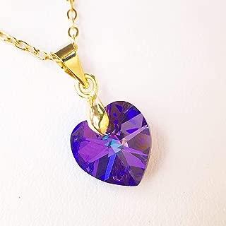 Collar de Piedra del mes corazón de Swarovski Personalizado, Swarovski Birthstone Necklace - Tutti Joyería