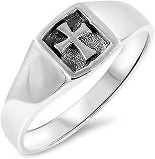 Templar Medieval Cross Mens Womens Signet Ring Sterling Silver Sizes 4-10