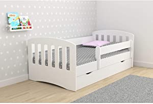 Toddler Bed Kids Bed Junior Children s Single Bed with Mattress and Underbed Drawer Included Classic  White 180x80