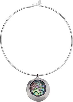 Abalone Disc Round Wire Necklace