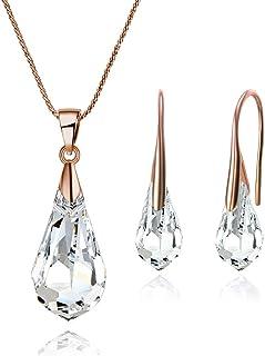 Mestige Rose Gold Drop Set with Swarovski Crystals