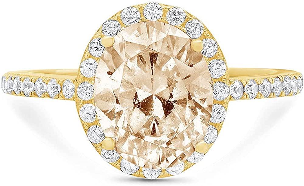 2.86ct Brilliant San Diego Mall Oval Cut Cheap SALE Start Solitaire Mor with Halo Natural Accent