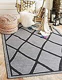 Unique Loom Outdoor Trellis Collection Geometric Lattice Transitional Indoor and Outdoor Flatweave Gray  Area Rug (8' 0 x 11' 4)