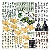 Jackys 250 Stück Military Spielset, Militär Figuren mit Spielzeug-Soldaten, Panzer, Flugzeuge, Fahnen, Schlachtfeld Zubehör