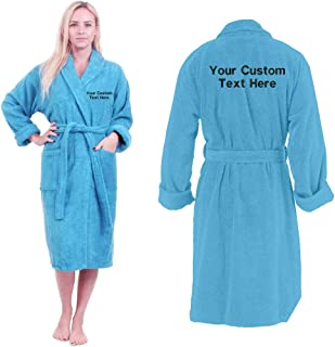 Unisex Egyptian Personalised Your Custom Text Front And Back Embroidery Cotton Super Soft Luxury Towelling Terry Bathrobe